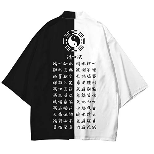HENGX Mujer Japonés Kimono Chaqueta,Hombre Camisa Estampada