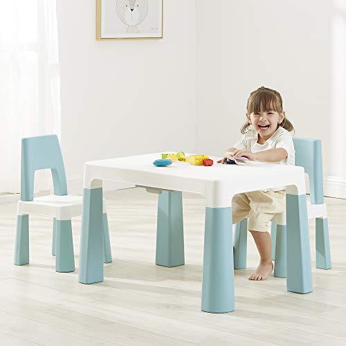 Liberty House Toys Kinder-Tisch und 2 Stühle, höhenverstellbar, Robustes Polypropylen, Weiß und Waldgrün, 49/54 cm H x 50 cm B x 78 cm T