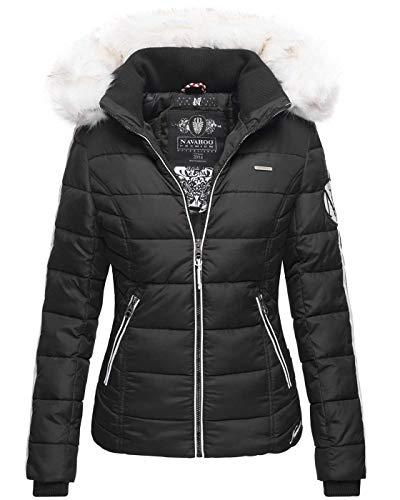 Navahoo warme Damen Winter Jacke Stepp Kurzjacke gefüttert B810 [B810-Khing-Schwarz-Gr.XL]