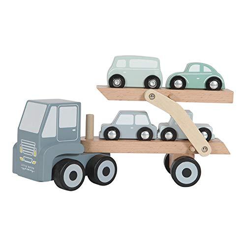 Little Dutch 4453 Holz Auto-Transporter inkl. 4 Autos - blau