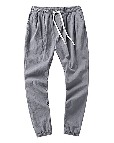 GladiolusA Herren Freizeithose Leinen Chino Hosen Atmungsaktiv Sommerhosen Große Größen Baggy Ankle Pants Strandhosen Mit Kordel Gray 3XL