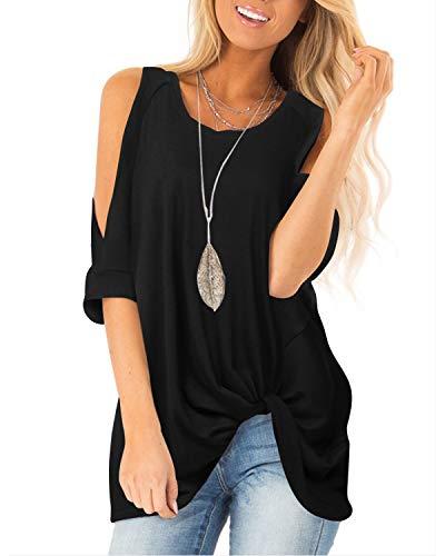 YOINS Blusa de manga corta con hombros descubiertos para mujer, estilo casual, cuello redondo, hombros descubiertos, color sólido