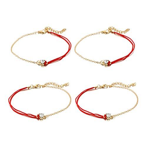 YAZILIND Cuerda roja Pulseras Conjuntos de Calzado Multicapa corazón Forma Tobillera Mujeres...