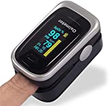 Oxímetro de Pulso de Dedo con Pantalla OLED, Monitor Digital de Frecuencia de Respiración RR, Frecuencia Cardíaca PR, Saturación de Oxígeno en Sangre SpO2 e Indice de Perfusión PI (OXIP)