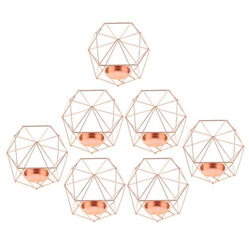 Candle Holder Hexagon Candlestick Lantern Geo Frame Tea Light 3D Geometric Candleholder For Home Party Wall Ornament 7pcs 428