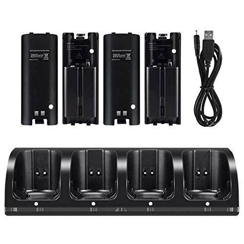 OSAN Ladegerät-KIT Ladestand Ladestation mit 4 2800mAh wiederaufladbar Batterien Akkus für Nintendo Wii Remote Controller (Schwarz)