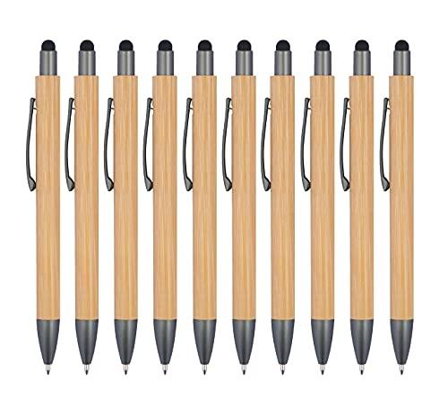 StillRich Industries 10 Stück Bambus Touchpen Kugelschreiber, Premium Set, Kulli, ballpoint pen, hochwertige, ergonomische und blauschreibende Kugelschreiber (Bambus)…