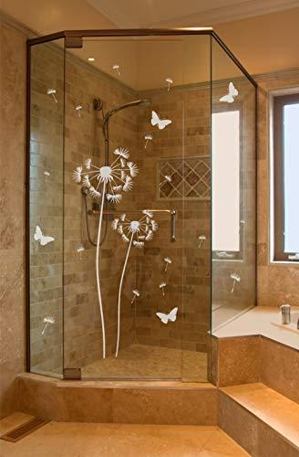 Pusteblume Aufkleber für Dusche Duschtür Duschwand Folie Bad Badezimmer Zimmertür Fenster Window wasserfest selbstklebende Folie mit losen Pollen und 4 Schmetterlingen