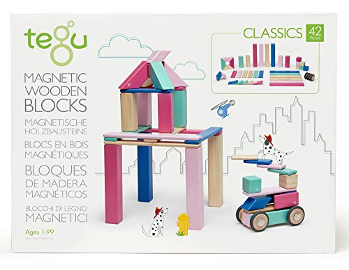 42 Piece Tegu Magnetic Wooden Block Set, Blossom