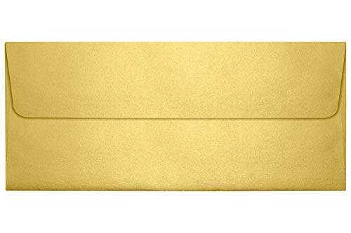 #10 Square Flap Envelopes (4 1/8 x 9 1/2) - Gold Metallic (50 Qty) | Perfect for Checks, Invoices, Letterhead, Letters, Statements | 5360-07-50
