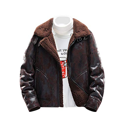 Men's Bomber Jacket Vintage Suede Jackets Lapel Wool Lining Short Thermal Coat Casual Winter Jackets - Chic