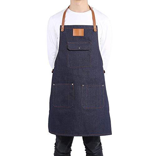 KIYOUMI Denim Bib Schort Verstelbaar Chef Schort met Cross-Back lederen bandjes Multi-Pocket voor Bartender BBQ Chef Work Cook Uniform
