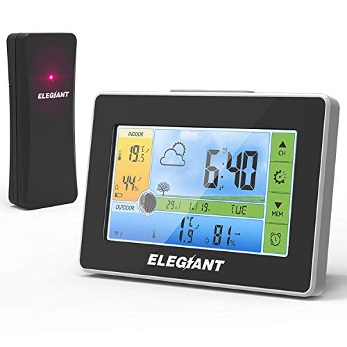 ELEGIANT Wetterstation mit Funk Außensensor, Digitaler Thermometer-Hygrometer für Innen Außen, Mondphasen, Wettervorhersage, Alarm/Snooze, 3 Außenkanäle, Farbdisplay, Touchscreen