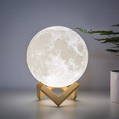 BRIGHTWORLD Moon Lamp Moon Night Light 3D Printing 7.1IN Large Lunar Lamp for Kids Gift for Women USB Rechargeable Touch Contral Brightness Warm and Cool White