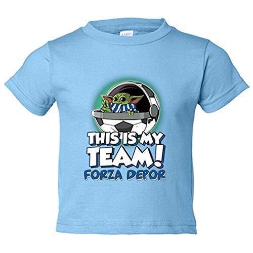 Camiseta niño parodia baby Yoda mi equipo de fútbol Forza Depor - Celeste, 9-11 años