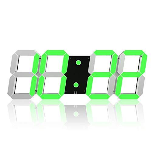 Myfei Digitale wandklok, led-cijfers, Hollow driedimensionaal, snooze Wall Desk, alarm, datum, temperatuurregeling, automatische afstandsbediening voor fitnessstudio's op kantoor thuis, 5