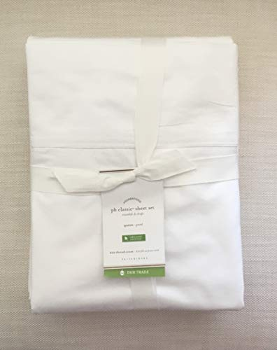 Pottery Barn Classic 400 Thread Count Organic Percale Sheet Set~Queen~White~