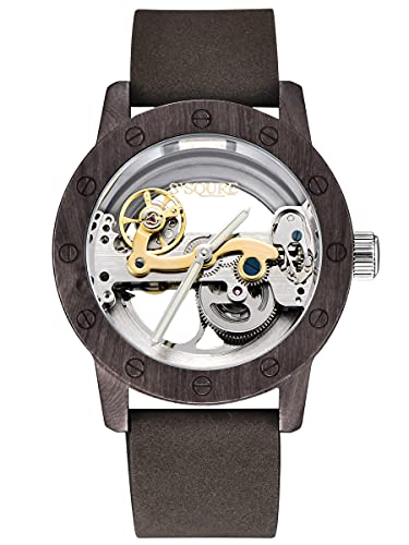 Alienwork Automatikuhr Armbanduhr Herren Schwarz Lederarmband Grün Silber Skelett Natur-Holz