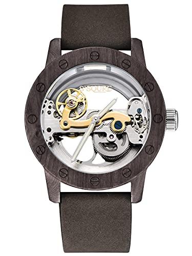 Alienwork Reloj Automático Hombre Negro Pulsera de Cuero Verde Plateado Esqueleto Madera Natural