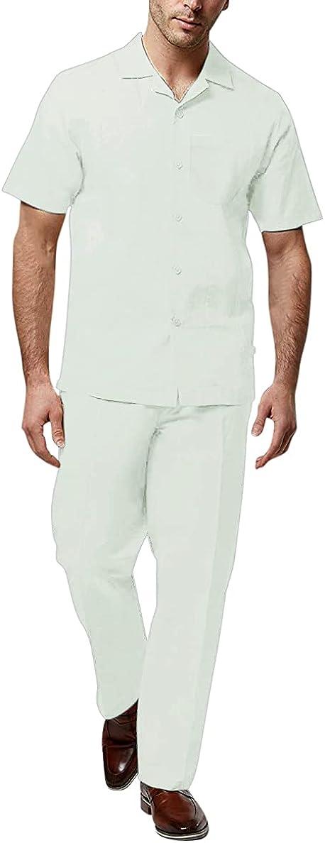Adam Baker Men's 2-Piece (Long Pants and Short Sleeve Shirt) Linen-Cotton Blend Walking Suit Set