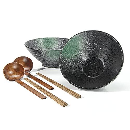 Cuencos De Ramen Cerámica Japonés, Tazones Sopa 1000ml Con Cuchara Palillos Madera 2 Juegos, for Ensalada Cereales Postre Arroz Pasta Gachas Udon Avena Merienda Soba (b)