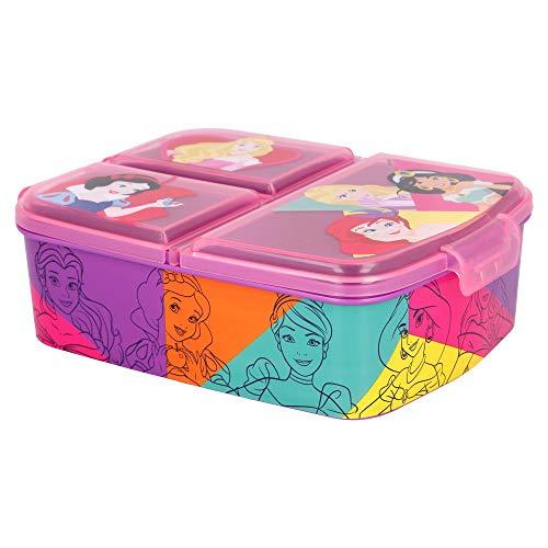 PRINCESAS DISNEY | Sandwichera con 3 compartimentos para niños - lonchera infantil - Porta merienda...