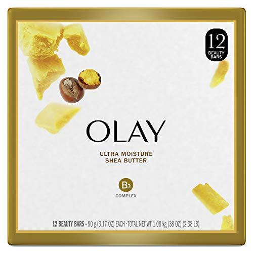 Olay Moisture Outlast Ultra Moisture Shea Butter Beauty Bar with Vitamin B3 Complex, 3.17 oz, 12 count