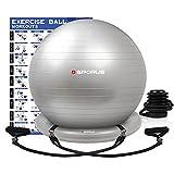 Sporus Gymnastikball Stuhl, Anti-Burst Sitzball Büro 65 cm mit Ballschale und Widerstandsbändern,...