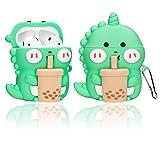 Airpods 1/2 Case Cover ,3D Boba Tea Dinosaur Shape Cartoon Cute Kawaii Chic Cute Funny Apple Airpod 1/ 2 Soft Silicone Protective Skin with Keychain for Kids Teens Girls Women Boys Men (Cute Dragon)