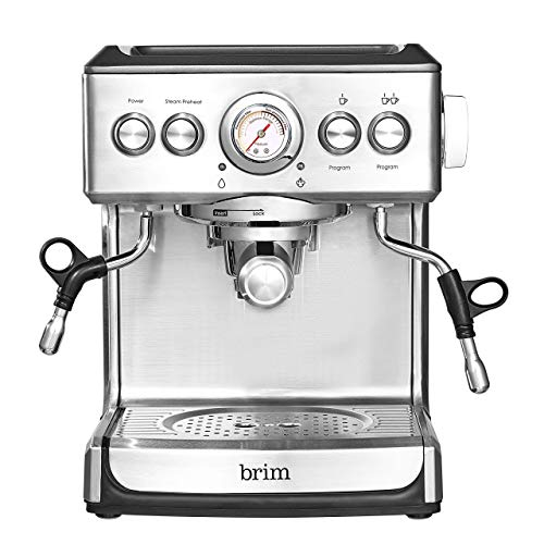 Brim 19 Bar Espresso Machine, Fast Heating Cappuccino, Americano, Latte and Espresso Maker, Milk Steamer and Frother, Removable Parts for Easy Cleaning, Stainless Steel