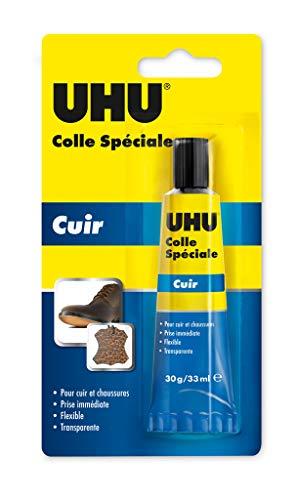 UHU Colle Spéciale Cuir & Chaussures 30g/33ml, Idéale pour réparer les semelles usées, les talons et les trous présents sur les côtés et le dessus des chaussures