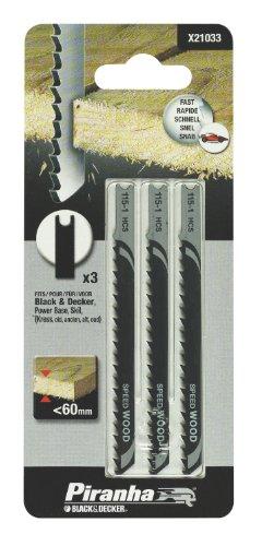 Black+Decker X21033-XJ - 3 hojas HCS para corte recto y rápido. L....