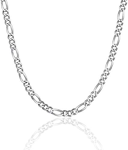 U7 Jewelry 925 Sterling Silver Necklace Chain 1mm 3mm Box Figaro Chains Lobster Claw Clasp - Italian Necklace Chain - Super Thin & Strong - Friendly Price & Quality 16/18/20/22/24/26/28 Inch silver