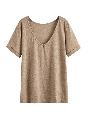 SheIn Women's Summer Short Sleeve Loose Casual Tee T-Shirt Khaki Large