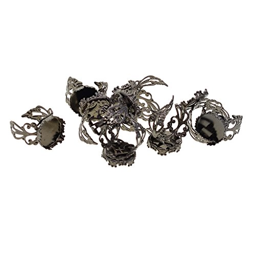 Baoblaze 10 Stück 15mm Verstellbare Messing Blank Lünette Filigran Ring DIY Machen - Hematit, 15mm