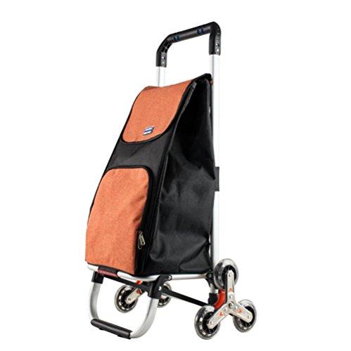 Carrito De La Compra Plegable Sin Ruido 6 Ruedas Ligero Subir Escaleras Trolley,Orange
