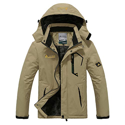 Susclude Men Winter Jacket Warm Water-Resisent Snow Ski Jacket Outdoor Windproof Hiking Hunting Coat Phone Pockets Khaki L