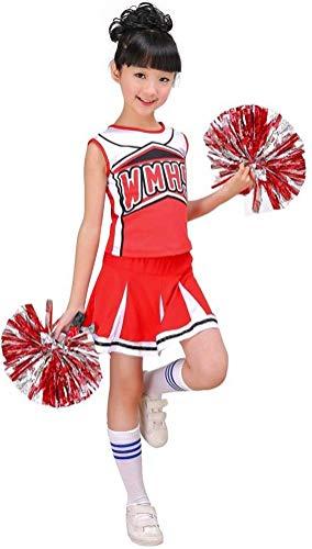 LOLANTA Disfraz de Animadora roja y Azul para niñas, Calcetines con Pompones, Disfraz de Animadora para niños, Disfraz de Carnaval
