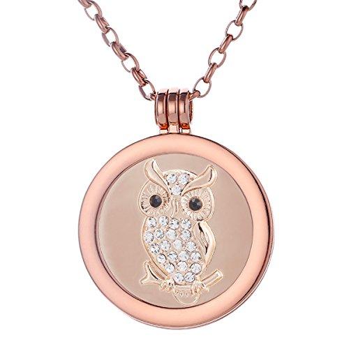 Morella Collana Donna 70 cm Acciaio Inossidabile Oro Rosa con Coins Moneta amuleto Ciondolo Rotondo 33 mm Gufo Oro Rosa Oro Rosa in Sacchetto di Velluto