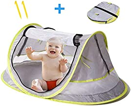 Baby Tent for Beach - Indoor & Outdoor + UV & UPF Sun Protection with Mosquito Net Cover - Perfect for Travel + Popup Assembly of Canopy - Great Gift for Babies (Girl & Boy)