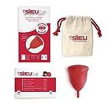 Copa Menstrual Sileu Cup Rose - Modelo de iniciación sencillo de colocar - Ayuda a prevenir infecciones urinarias y la cistitis - Talla XS, Rojo, Flexibilidad Sport