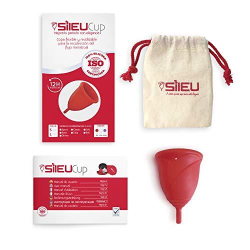 Copa Menstrual Sileu Cup Rose - Modelo de iniciación sencillo de colocar - Ayuda a prevenir infecciones urinarias y la cistitis - Talla S, Rojo, Flexibilidad Standard