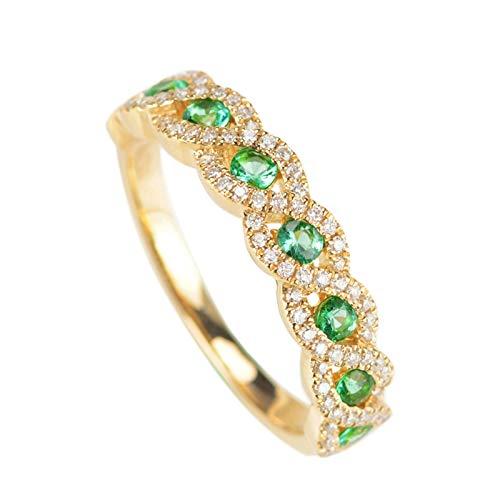 Daesar Anillos de Oro Mujer 18 K Puro Cruzada Redonda Esmeralda Verde Blanca Talla 18,5
