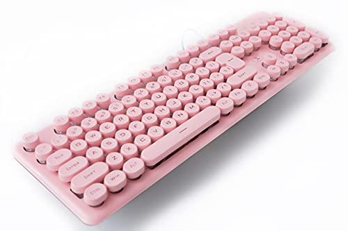 Gaming Tastatur Englisch mit Kabel USB. wasserdicht-ergonomisch, Keyboard Tastatur für PC Xbox one X PS4 Tastatur,LED Hintergrundbeleuchtung für Desktop,Windows 104 Tasten (Pink Tastatur)