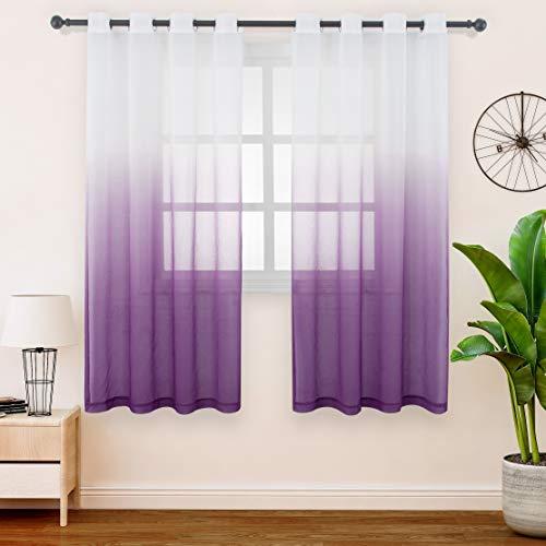FLOWEROOM Gardinen/Vorhang Transparent Voile für Schlafzimmer und Wohnzimmer, 140 x 145 cm, Violett – Gardine Farbverlauf Fenster Vorhänge mit Ösen, Sheer Curtains 2er Set