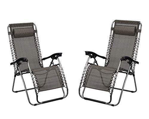 Recliner Lounger Set of 2 Folding Recliner Chair Aluminium Recliner Lounger for the Garden Recliner Chair