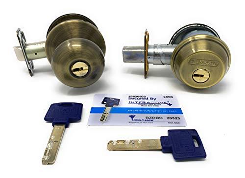 "Set of MUL-T-LOCK Interactive+ High Security Deadbolt & Door Knob - Keyed Alike with 2 Keys and Key Duplication Card. Adjustable Backset 2-3/8"" to 2-3/4"" (Antique Brass)"