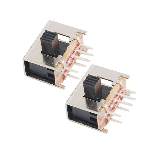 sourcing map 10 piezas de 8 pines PCB de encendido/apagado 2 Posición 2P2T DPDT miniatura interruptor deslizante de ángulo recto