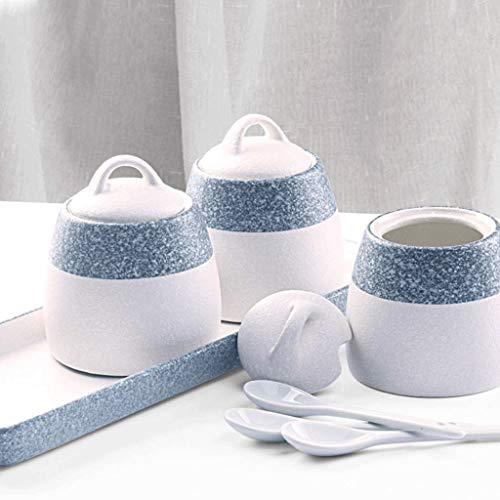 SJYDQ Botella de cerámica Especias condimentos crisoles de Porcelana, Juego de 3 condimento Spice Box cerámica Rack Sostenible azúcar contenedor no-Deslizamiento de Cocina
