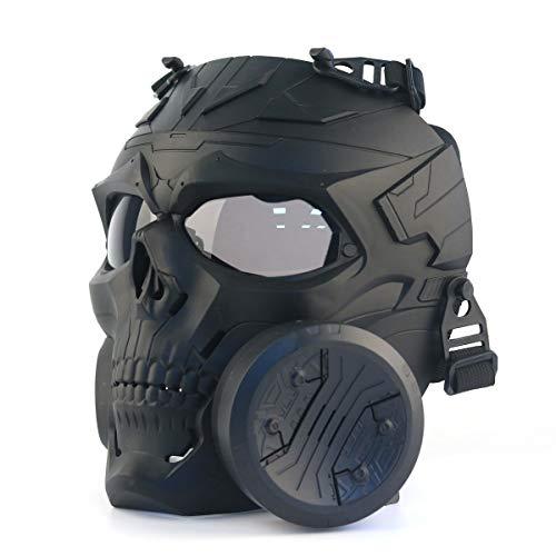 Sgoyh Taktische Attrappe, rauchfarbene Linse, Anti-Beschlag-Gasmaske mit Turbolüfter, Airsoft, Paintball Schutzausrüstung Einheitsgröße Schwarz